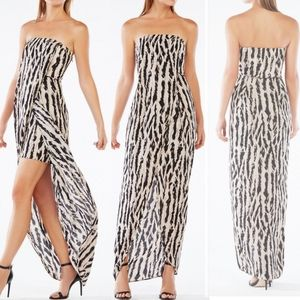 BCBGMaxAzria Jesse Strapless Animal Print Gown